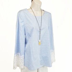 NWT CeCe lace cuff clip dot blouse